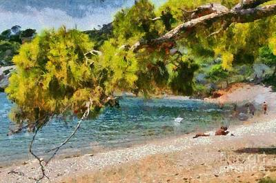Painting - Agia Paraskevi Beach In Spetses Island by George Atsametakis