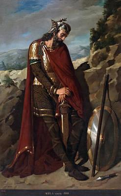 Puebla Painting - Agila. King Of The Visigoths by Dioscoro Teofilo Puebla Tolin