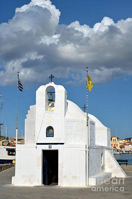 Photograph - Agios Nikolaos Chapel In Aegina Port by George Atsametakis