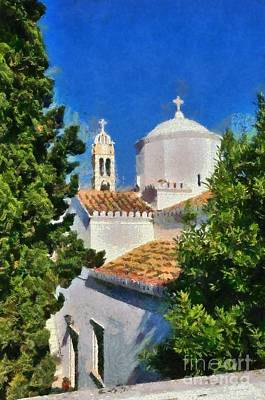 Painting - Agios Nikolaos Church In Spetses Island by George Atsametakis