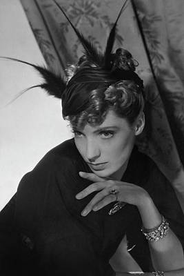 Feathered Hat Photograph - Agneta Fischer Wearing A Reboux Hat by Horst P. Horst