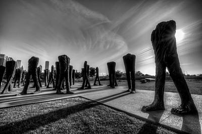 Photograph - Agora Sculpture In The Morning In Black And White by Anthony Doudt
