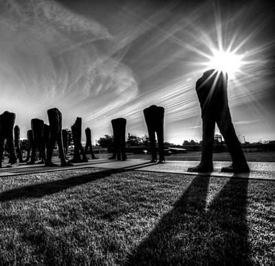Photograph - Agora Sculpture In The Morning With Sunburst In Black And White by Anthony Doudt