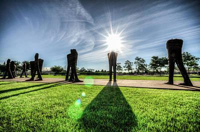 Photograph - Agora Sculpture With A Sunburst Head by Anthony Doudt