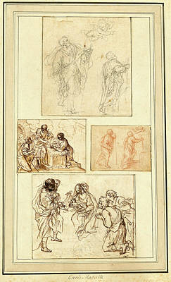 Agostino Masucci, Italian 1691-1758, Studies Of Saint Art Print