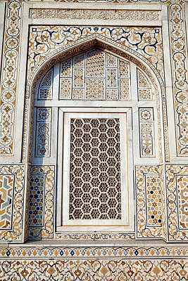Inlay Photograph - Agra, India Geometric Window Design by Charles O. Cecil