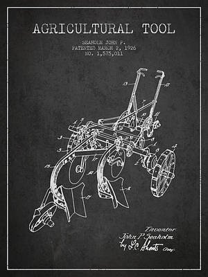 Farming Digital Art - Agricultural Tool Patent From 1926 - Dark by Aged Pixel