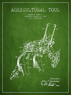 Farming Digital Art - Agricultural Tool Patent From 1926 - Green by Aged Pixel