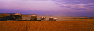 Gleaners Photograph - Agriculture - Five Gleaner Combines by Timothy Hearsum
