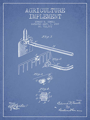 Agriculture Digital Art - Agriculture Implement Patent From 1909 - Light Blue by Aged Pixel
