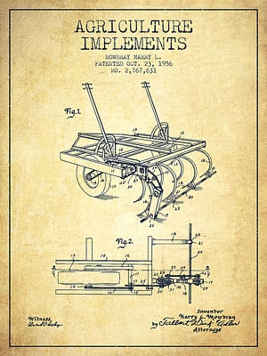 Farming Digital Art - Agriculture Implements Patent From 1956 - Vintage by Aged Pixel