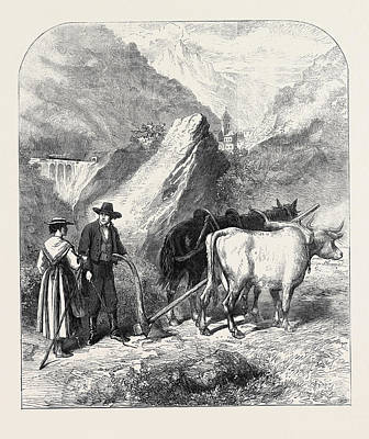 Vale Drawing - Agriculture In The Dora Valley Mont Cenis Railway 1871 by English School
