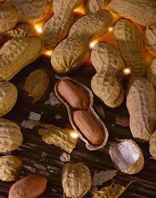 Agriculture - Mature Peanuts On Wood Art Print