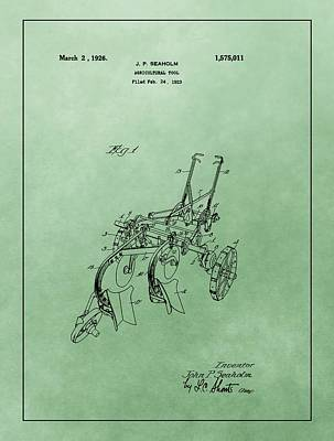 Drawing - Agriculture Plow Patent by Dan Sproul