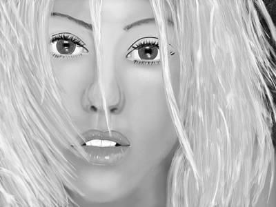Christina Digital Art - Aguilera Beautiful Black And White by Mathieu Lalonde