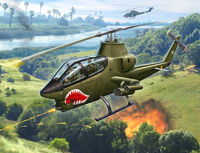 Ah-1g Huey Cobra   The Cobras Venom Art Print by Stu Shepherd