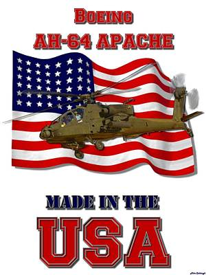Made In The Usa Digital Art - Ah-64 Apache Made In The Usa by Mil Merchant