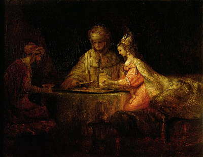 Judaic Photograph - Ahasuerus Xerxes, Haman And Esther, C.1660 Oil On Canvas by Rembrandt Harmensz. van Rijn