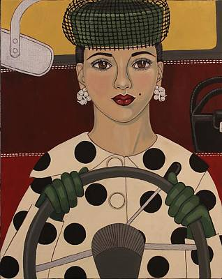 Retro Look Painting - Ahead Of Her Time by Stephanie Cohen