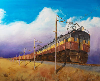 Locomotive Painting - Ahead Of The Weather by Christopher Jenkins