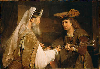 Giving Painting - Ahimelech Giving The Sword Of Goliath To David  by Aert de Gelder