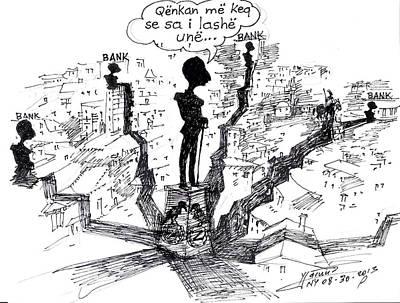 Caricature Wall Art - Painting - Ahmet Zogu Hijet Mbreterore Ne Tirane  by Ylli Haruni