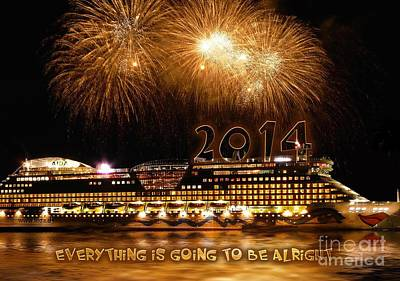 Art Print featuring the photograph Aida Cruise Ship 2014 New Year's Day New Year's Eve by Paul Fearn