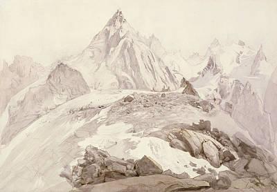 Hiking Drawing - Aiguilles De Chamonix by John Ruskin