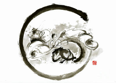 Aikido Enso Circle Martial Arts Sumi-e Original Ink Painting Artwork Original by Mariusz Szmerdt