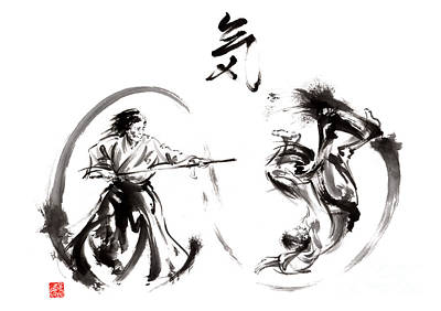 Handmade Painting - Aikido Federation Show Double Enso Fight Line Circle Painting by Mariusz Szmerdt