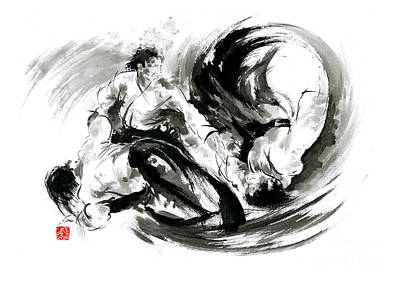 Geisha Painting - Aikido Randori Fight Popular Techniques Martial Arts Sumi-e Samurai Ink Painting Artwork by Mariusz Szmerdt