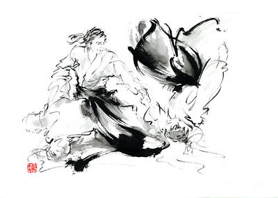Japanese-art Painting - Aikido Randori Techniques Kimono Martial Arts Sumi-e Samurai Ink Painting Artwork by Mariusz Szmerdt