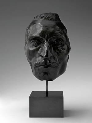 Bronze Mask Drawing - Aimé-jules Dalou, Portrait Mask Of Etienne Carjat by Quint Lox