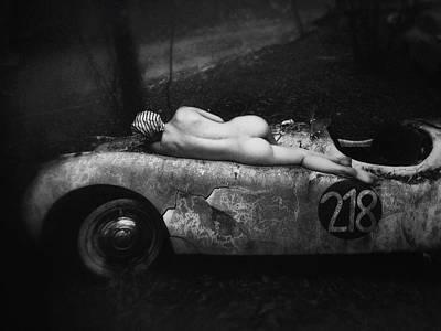 Abandoned Car Photograph - Aimee & Jaguar by Holger Droste