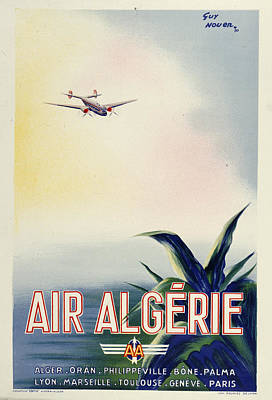 Plane Painting - Air Algerie by Vintage Images