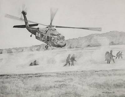 Helicopter Drawing - Air Assault by Michelle Hand