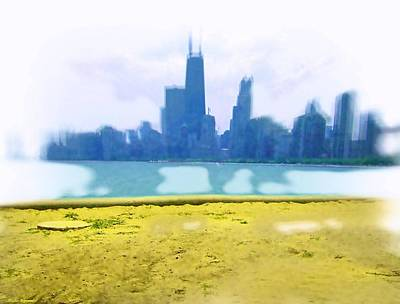 Hancock Building Mixed Media - Air Brushed Chicago Skyline by Skyler Tipton