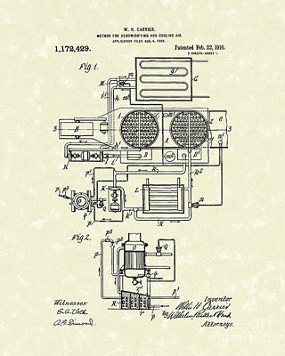 1916 Drawing - Air Conditioner 1916 Patent Art by Prior Art Design