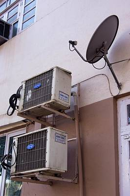 Hardware Photograph - Air-conditioners And Satellite Dish by Mark Williamson