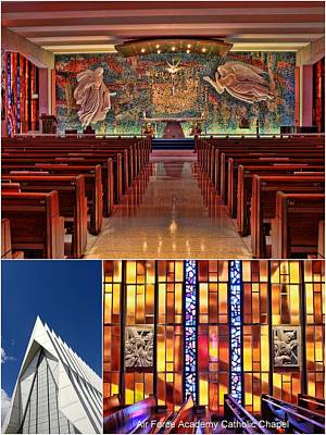 Photograph - Air Force Academy Catholic Chapel Collage by Allen Beatty