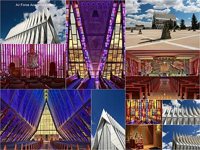 Photograph - Air Force Academy Chapel Collage by Allen Beatty