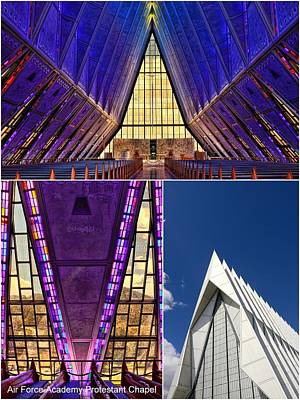 Photograph - Air Force Academy Protestant Chapel Collage by Allen Beatty