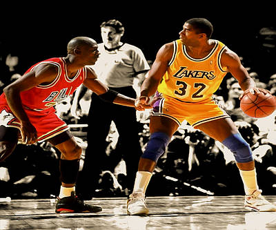 Magic Johnson Digital Art - Air Jordan On Magic by Brian Reaves