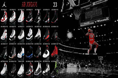 Sneakers Digital Art - Air Jordan History Of Flight by Brian Reaves