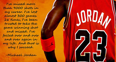 Chicago Bulls Digital Art - Air Jordan Success Quote by Brian Reaves