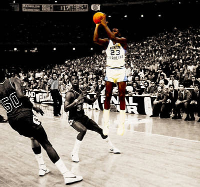 Air Jordan Digital Art - Air Jordan Unc Last Shot by Brian Reaves