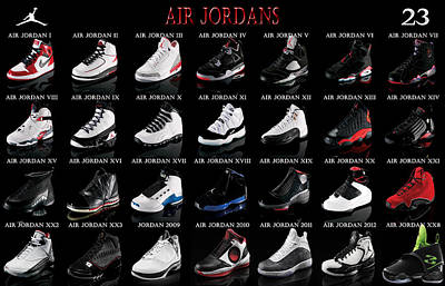 Athletes Digital Art - Air Jordan Shoe Gallery by Brian Reaves