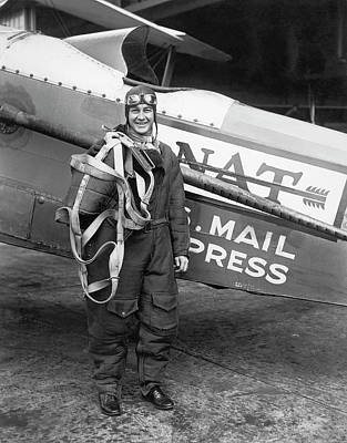 Mail Portrait Photograph - Air Mail Pilot Speed Record by Underwood Archives