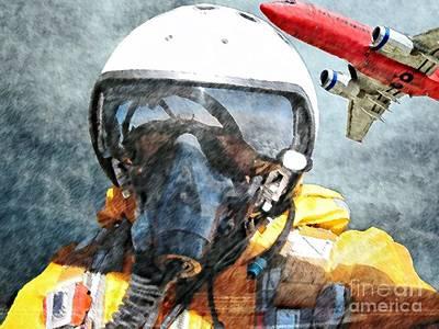 Wet Fly Digital Art - Air Pilot by Liane Wright