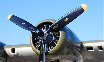 Photograph - Air Power. B-17 Flying Fortress Engine by Connie Fox